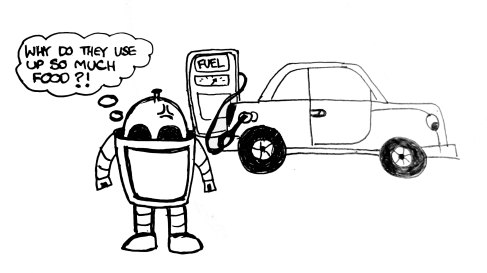 I'm sure lots of us are wondering what people are going to use in the future when all the oil is gone... electricity maybe? Anyway, here's a small sketch I did. Still not sure whether Plue the Robot is angry about cars drinking all the fuel because of the environment or simply because of hunger... probably both :P